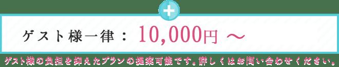 ゲスト様一律:7,000円?10,000円 ゲスト様の負担を抑えたプランも提案可能です。詳しくはお問い合わせください。